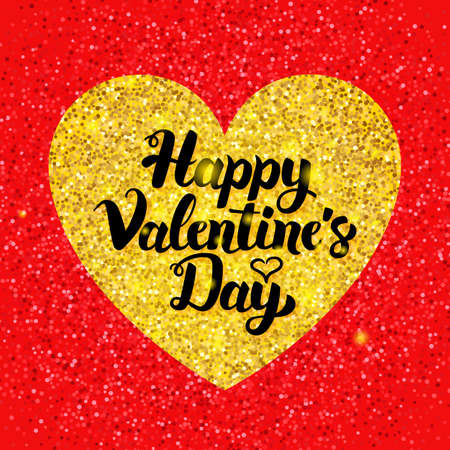 Happy Valentines Day Glitter Postcard Illustration
