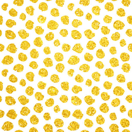 Hand Drawn Gold Dots Seamless Pattern Illustration