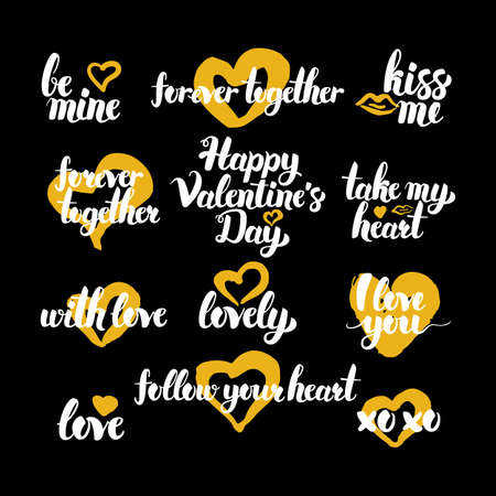 Happy Valentine Day Hand Drawn Quotes Royalty Free Cliparts Vectors