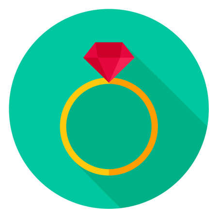 Ring with Diamond Circle Icon Illustration