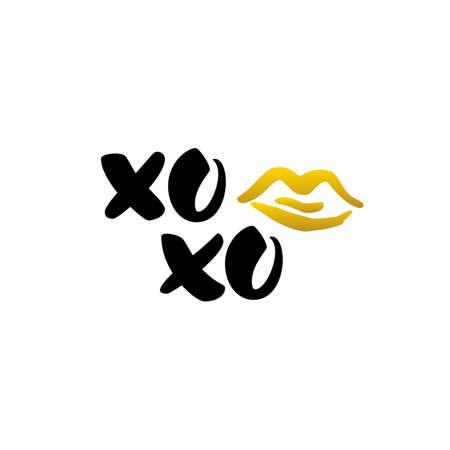 Xoxo Kus Handgeschreven Belettering Stockfoto - 69601958
