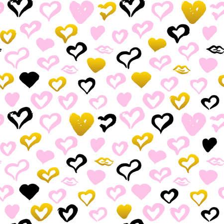 Hand Drawn Hearts Seamless Pattern Illustration