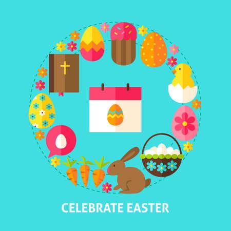 bible flower: Celebrate Easter Postcard Illustration
