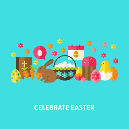 bible flower: Celebrate Easter Greeting Card. Flat Design Vector Illustration. Spring Holiday Poster. Illustration