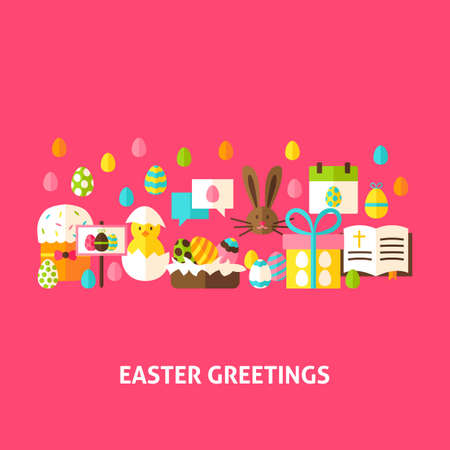 Simple easter greetings concepts royalty free cliparts vectors 72296928 easter greeting card flat design vector illustration spring holiday poster m4hsunfo