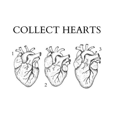 collect: Dotwork Collect Human Hearts Illustration