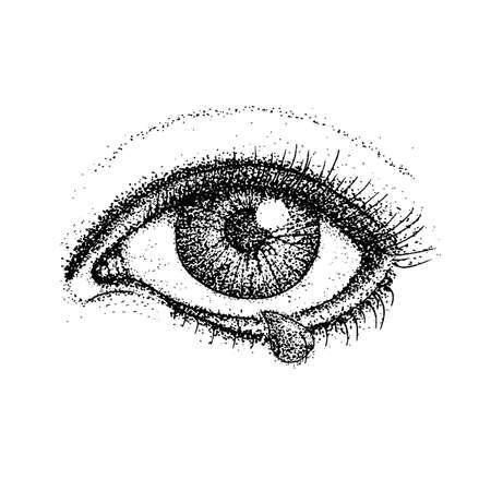 Dotwork Llorando Ojo Ilustración de vector