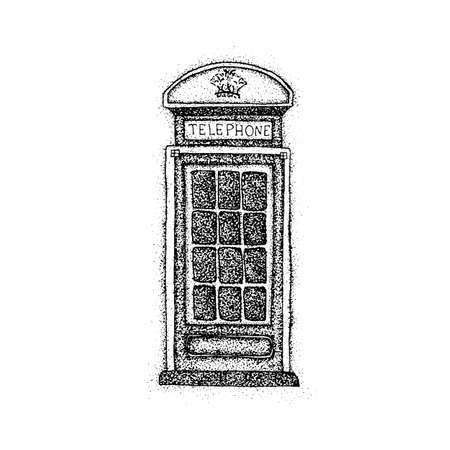 telephone box: Dotwork London Telephone Box. Vector Illustration of Old Style T-shirt Design. Hipster Tattoo Hand Drawn Sketch. Illustration
