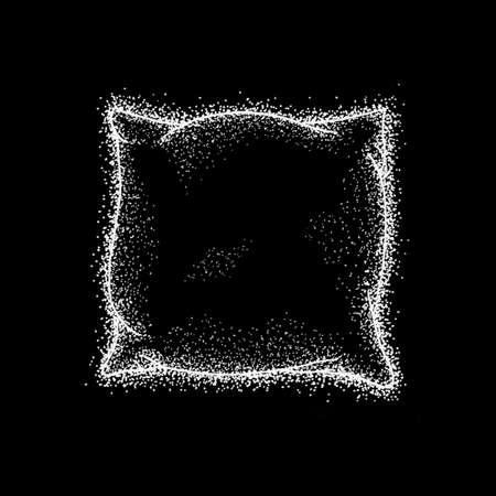 nap: Bed Pillow over Black. Raster Illustration of Hand Drawn Dotwork Sketch.