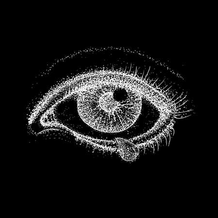 Crying Eye over Black. Raster Illustration of Human Vision and Tear Drop. Tattoo Hand Drawn Dotwork Sketch. Stock Photo