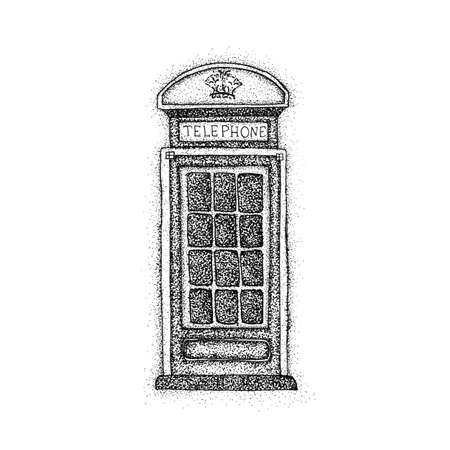 telephone box: London Telephone Box Dotwork. Raster Illustration of Old Style T-shirt Design. Hipster Tattoo Hand Drawn Sketch.