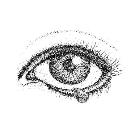 eye drops: Crying Eye Dotwork. Raster Illustration of Human Vision and Tear Drop. Tattoo Hand Drawn Sketch.