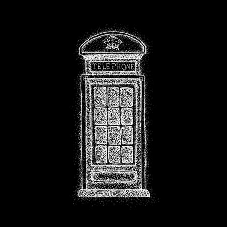 telephone box: London Telephone Box over Black. Raster Illustration of Old Style T-shirt Design. Hipster Hand Drawn Dotwork Sketch.