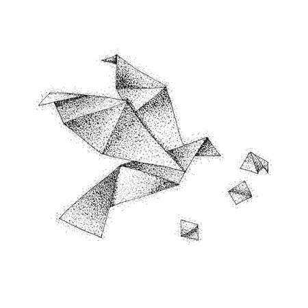Origami Bird Dotwork. Raster Illustration of Paper Flight. Tattoo Hand Drawn Sketch.