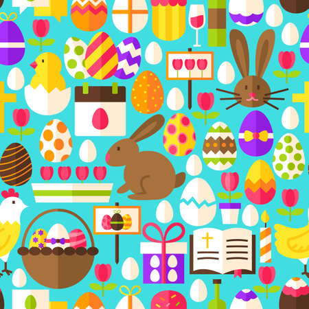 Blue Easter Seamless Pattern