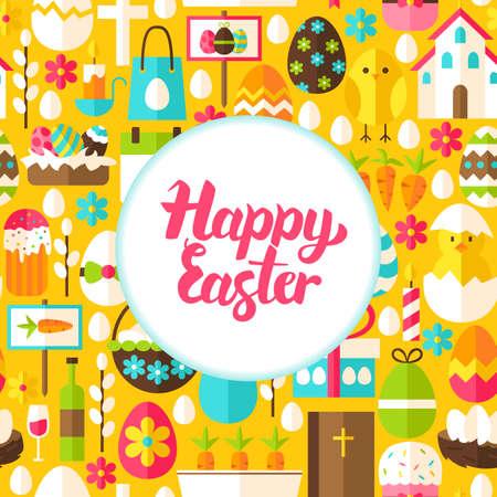 nest egg: Flat Happy Easter Greeting. Vector Illustration Spring Holiday Poster. Illustration