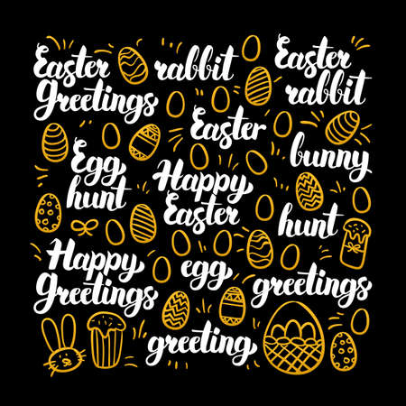 golden egg: Happy Easter Calligraphy Design. Vector Illustration of Spring Holiday Lettering. Illustration
