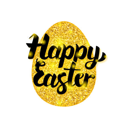 golden egg: Elegant  illustration of a Gold Happy Easter Greeting. Illustration