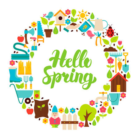 Hello Spring Flat Circle Illustration