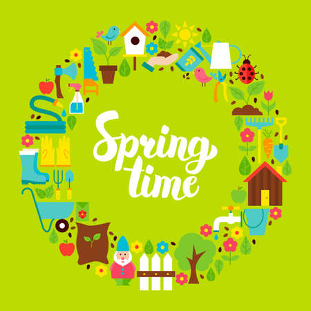 Spring Time Flat Circle Illustration