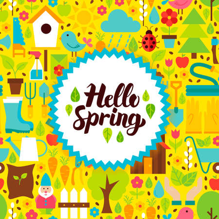 Flat Hello Spring Postcard