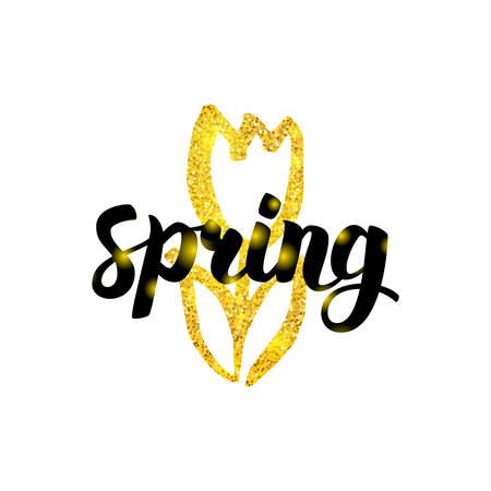 Gold Spring Tulip Greeting Illustration