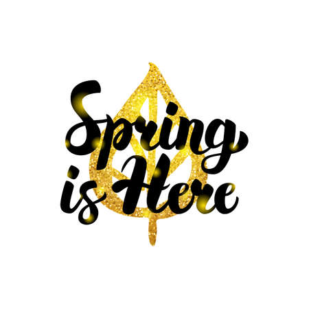 Spring is Here Gold Inscription Illustration