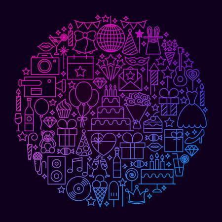 Verjaardag lijn pictogram cirkel concept. Vectorillustratie van partijvoorwerpen.
