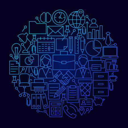 Business Line Icon Circle Concept. Vector Illustration of Office and Work Objects.