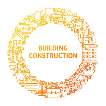 Construction Line Icon Circle Concept. Vector Illustration of Building Equipment Objects. Illustration