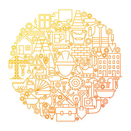 Construction Line Icon Circle Design. Vector Illustration of Building Equipment Objects. Illustration
