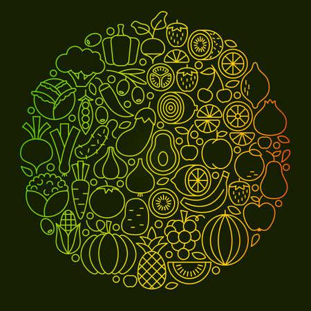 Fruit Vegetable Line Icons Design
