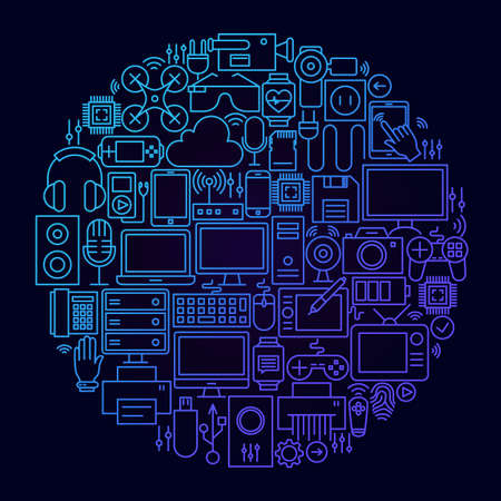 Gadget Line Icon Concept Circle. Vector Illustration of Technology and Electronics Objects.