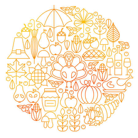 Thanksgiving Day Line Icon Circle Design. Vector Illustration of Autumn Objects.