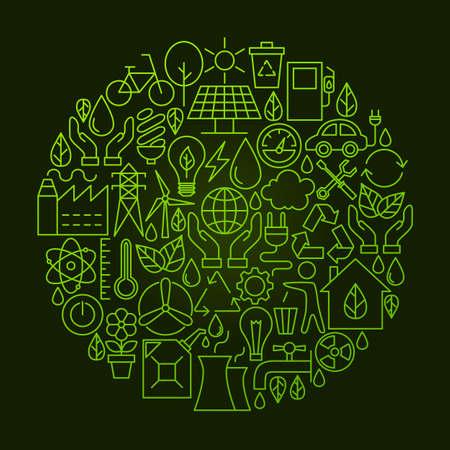 zero emission: Ecology Line Icon Circle Concept Illustration