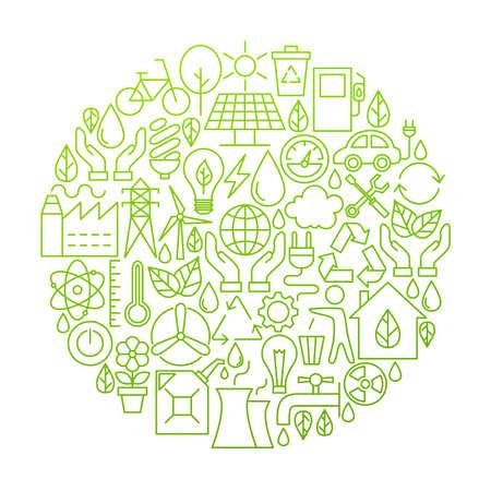 zero emission: Ecology Line Icon Circle Design Illustration