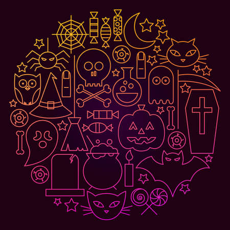 Halloween Line Icon Circle Concept. Vector Illustration of Scary Holiday Objects. Illustration