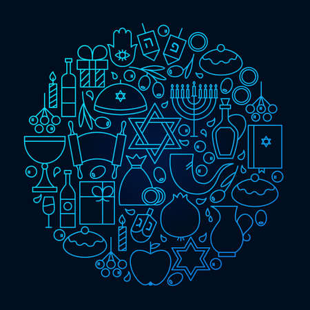 Hanukkah Line Icon Circle Concept
