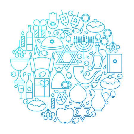 Hanukkah Line Icon Circle Design