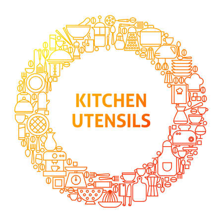 Kitchen Line Icon Circle Concept. Vector Illustration of Kitchenware and Appliances.