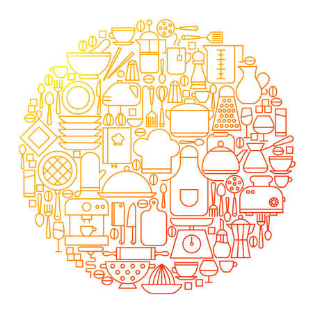 Kitchen Line Icon Circle Design. Vector Illustration of Kitchenware and Appliances.