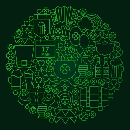 patrick: Saint Patrick Day Line Concept. Vector Illustration of Spring Irish Holiday Objects. Stock Photo