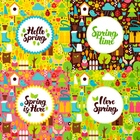Flat Spring Garden Postcards. Vector Illustration Nature Posters with Handwritten Lettering.