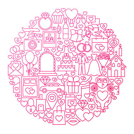 Wedding Line Icon Circle Design. Vector Illustration of Love Objects.