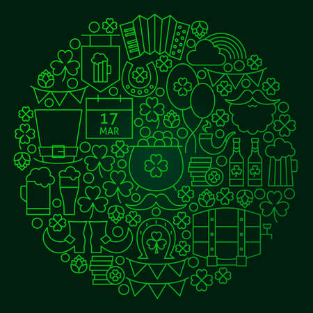 lucky clover: Saint Patrick Day Line Concept. Vector Illustration of Spring Irish Holiday Objects. Stock Photo