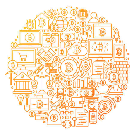 Bitcoin Line Icon Circle Design. Vector Illustration of Cryptocurrency Objects isolated over White. Ilustração