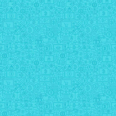 Blue Line Bitcoin Seamless Pattern. Vector Illustration of Outline Tile Background. Cryptocurrency Financial Items.