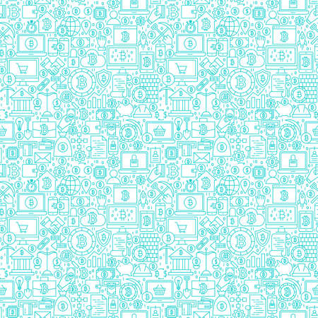 Line Cryptocurrency White Seamless Pattern. Vector Illustration of Outline Tile Background. Bitcoin Financial Items.