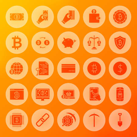 Bitcoin Solid Circle Web Icons. Vector Illustration of Cryptocurrency Glyphs over Blurred Background.