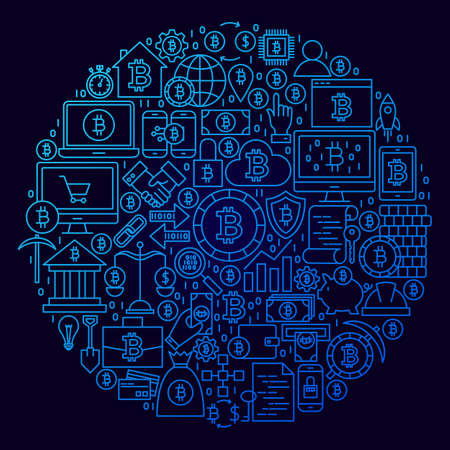 Bitcoin Line Icon Circle Concept. Vector Illustration of Cryptocurrency Objects.